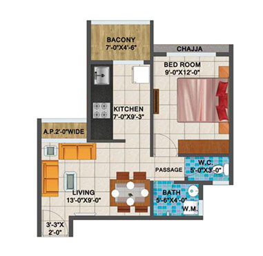 Arihant Aanaika 2 - 1 BHK Layout Plan