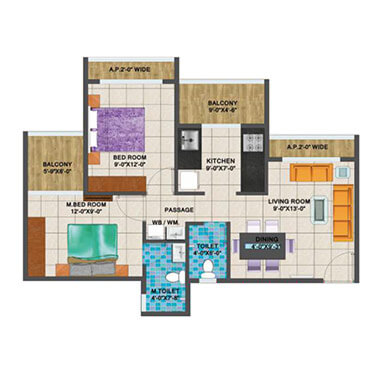 Arihant Aanaika 2 - 2 BHK Layout Plan